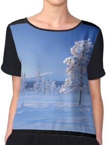Snow covered trees Chiffon Top