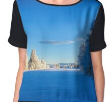 Beautiful winter landscape in Sweden Chiffon Top