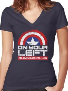 """""""On Your Left Running Club"""" Version 02 Women's Fitted V-Neck T-Shirt"""