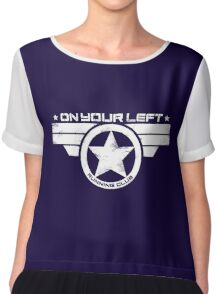 """""""On Your Left Running Club"""" Distressed Print 2 Chiffon Top"""