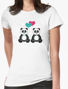 Panda Freefall in Pink Womens Fitted T-Shirt