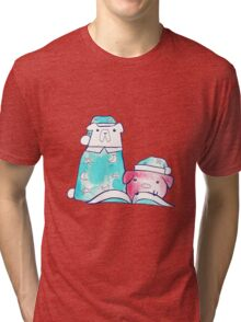 Bedtime Polar Bear and Pig Watercolor Tri-blend T-Shirt