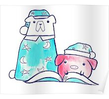 Bedtime Polar Bear and Pig Watercolor Poster