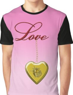 Golden Rose Locket With Love Graphic T-Shirt
