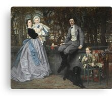 Vintage famous art - James Tissot - Portrait Of The Marquis And Marchioness Of Miramon And Their Children1865 Canvas Print