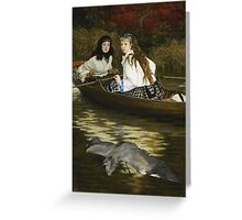 Vintage famous art - James Tissot - On The Thames, A Heron Greeting Card