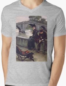 Vintage famous art - James Tissot - Richmond Bridge Mens V-Neck T-Shirt