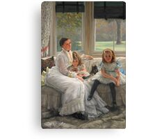 Vintage famous art - James Tissot - Smith Gill And Two Of Her Children Canvas Print