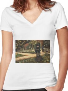 Vintage famous art - James Tissot - The Letter: vintage romantic gift, impressionism canvas paintings, retro wedding gift ideas Women's Fitted V-Neck T-Shirt
