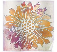Pop Painted Watercolor - Bright and Bold pink and gold flower Poster