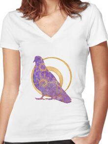 Pop Painted Watercolor - Bright and Bold purple and gold pattern Women's Fitted V-Neck T-Shirt