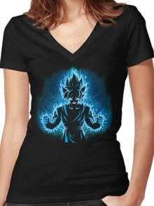 God Blue Women's Fitted V-Neck T-Shirt