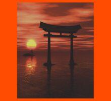 Japanese Floating Torii Gate at a Shinto Shrine, Sunset Kids Tee