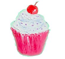 Cupcake with frosting and cherry Photographic Print