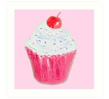 Cupcake with frosting on pink background Art Print