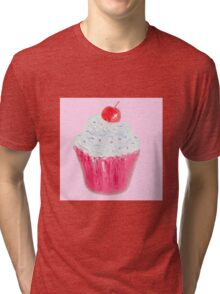 Cupcake with frosting on pink background Tri-blend T-Shirt