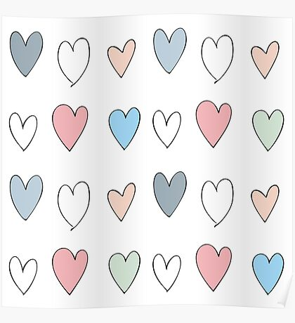 Colorful hearts pattern Poster