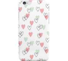 Pink and mint hearts pattern iPhone Case/Skin