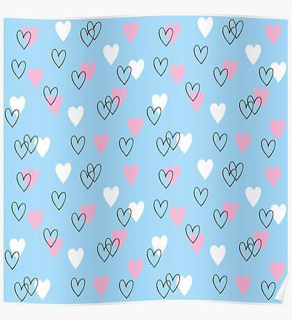 Pink and white hearts on blue background Poster