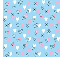 Pink and white hearts on blue background Photographic Print