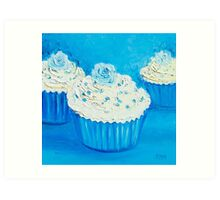 Three cupcakes painting Art Print