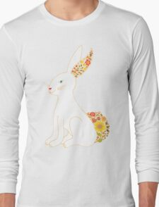 White Floral Bunny Rabbit Long Sleeve T-Shirt