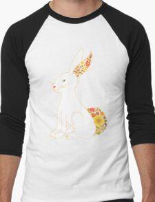 White Floral Bunny Rabbit Men's Baseball ¾ T-Shirt