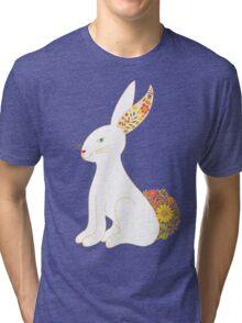 White Floral Bunny Rabbit Tri-blend T-Shirt