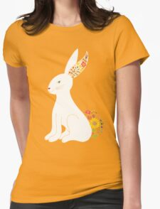 White Floral Bunny Rabbit Womens Fitted T-Shirt