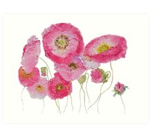 Pink Poppies painting Art Print