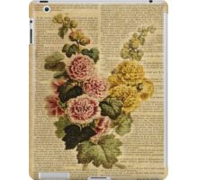 Botanical print, on old book page - flowers iPad Case/Skin