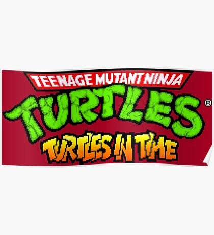 TMNT Turtles In Time logotype Poster