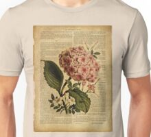 Botanical print, on old book page - flowers- Hydrangea blossom Unisex T-Shirt