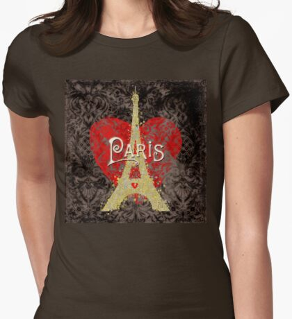 Travel Paris, modern vintage damask travel poster Womens Fitted T-Shirt