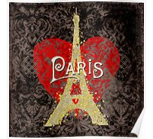 Travel Paris, modern vintage damask travel poster Poster