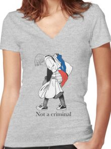 Mosher - Stop Criminalization of the Homeless (1) Women's Fitted V-Neck T-Shirt