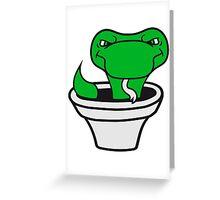 pot vessel bucket hole snake comic cartoon angry dangerous Greeting Card