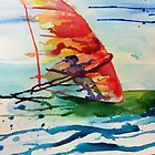 Windsurfing watercolour by gingerbiscuit
