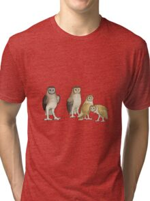 Giant barn owls from various islands Tri-blend T-Shirt