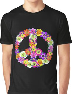 Peace Sign Floral on Black Graphic T-Shirt