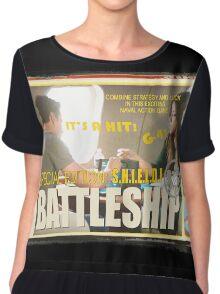 Vintage SHIELD Battleship- Skyeward Style Chiffon Top