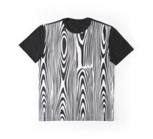 Black & White Abstract Wood Grain Alike Pattern Graphic T-Shirt