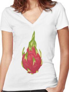 Dragonfruit  Women's Fitted V-Neck T-Shirt