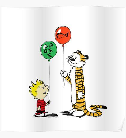 calvin and hobbes ballon Poster