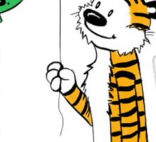 calvin and hobbes ballon Sticker