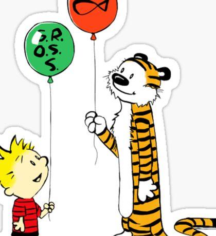 calvin and hobbes ballon Sticker