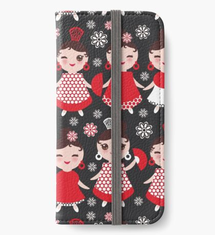 Flamenco dancers on black iPhone Wallet/Case/Skin