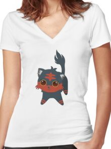 Chibi Litten Women's Fitted V-Neck T-Shirt