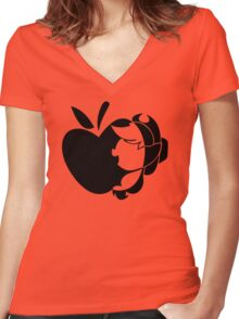 Apple With Pony Women's Fitted V-Neck T-Shirt