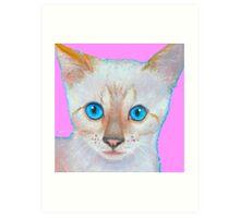 Snow Bengal cat painting Art Print